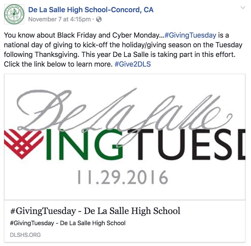 De La Salle Giving Tuesday Campaign
