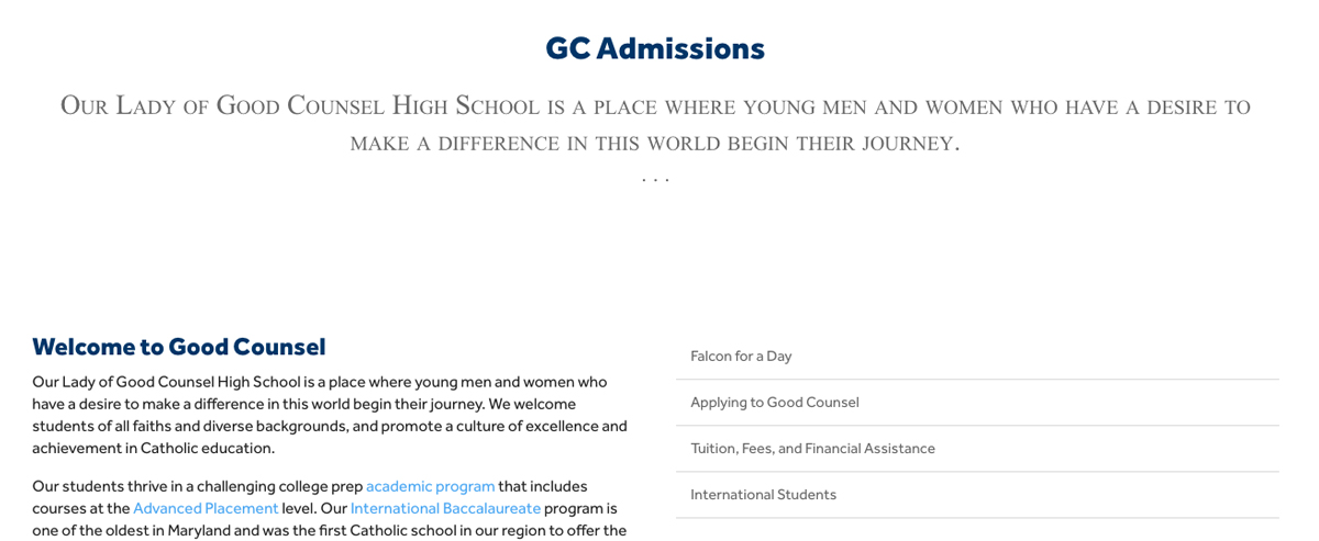 Admissions Landing Page