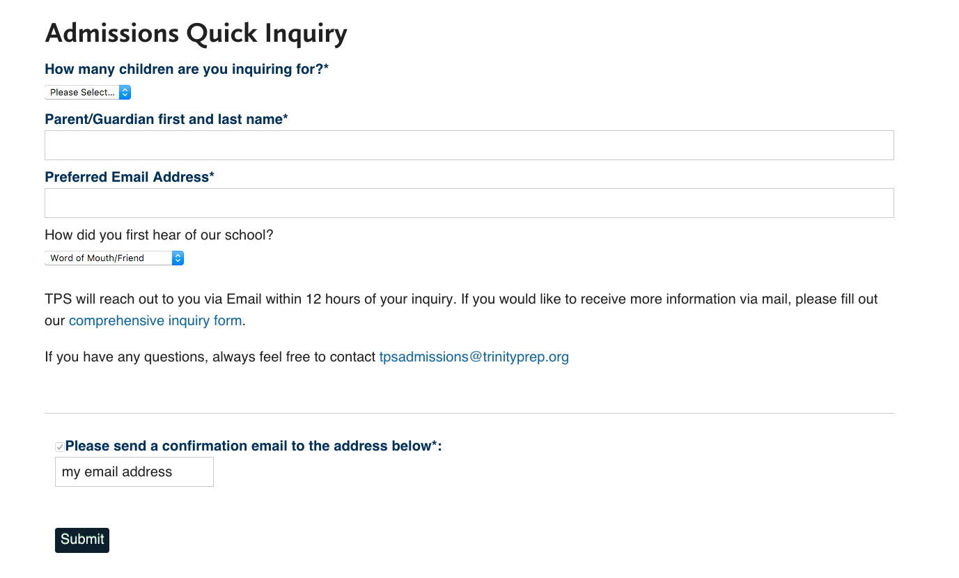Trinity Prep Quick Inquiry Form