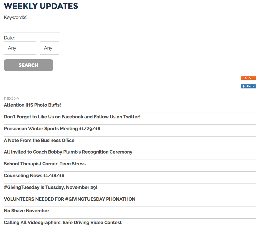 IHS Weekly Updates