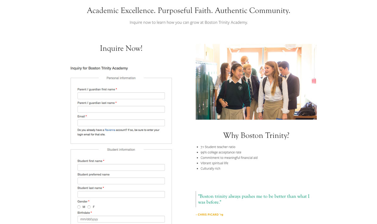 Boston Trinity Academy Inquiry Page