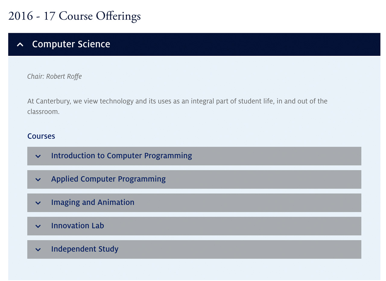 Canterbury Course Offerings