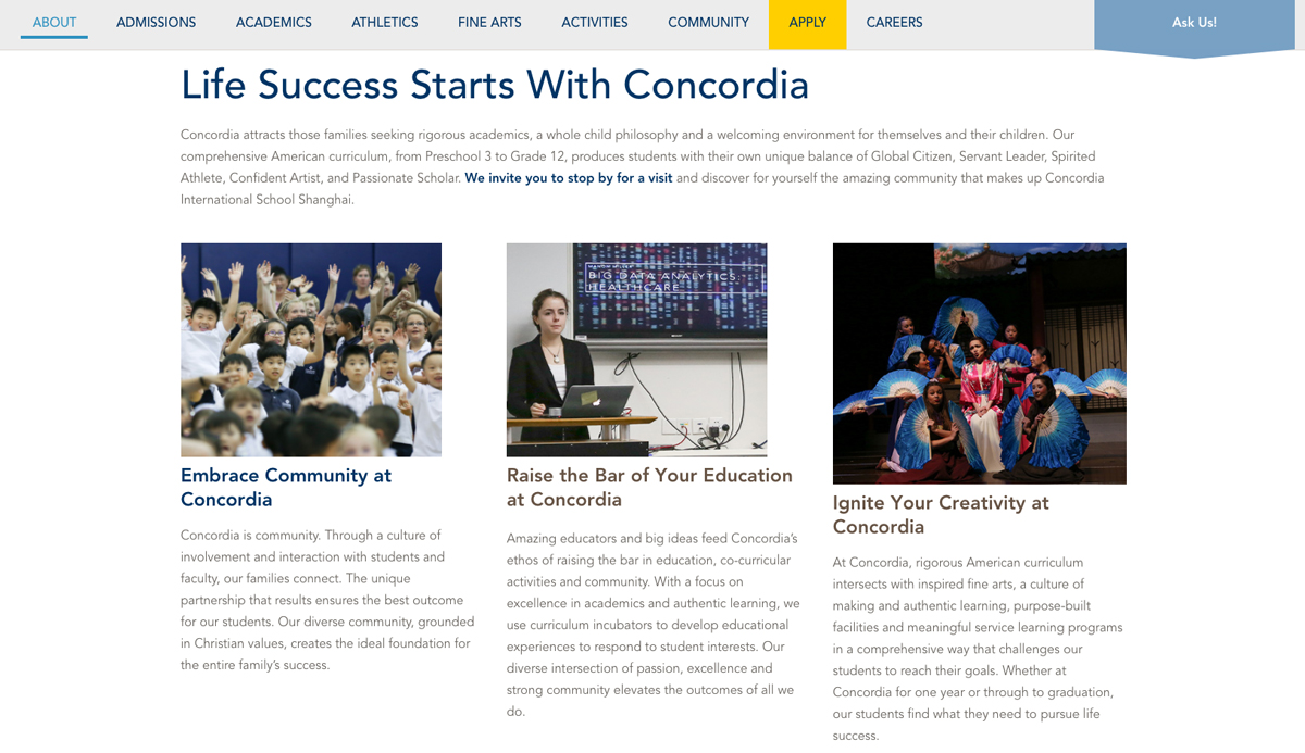 Concordia About Landing Page