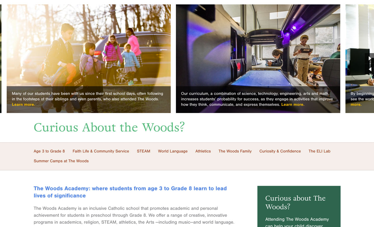 Curious About the Woods landing page