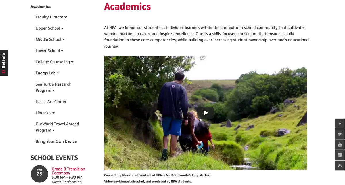 Academics Landing Page - HPA