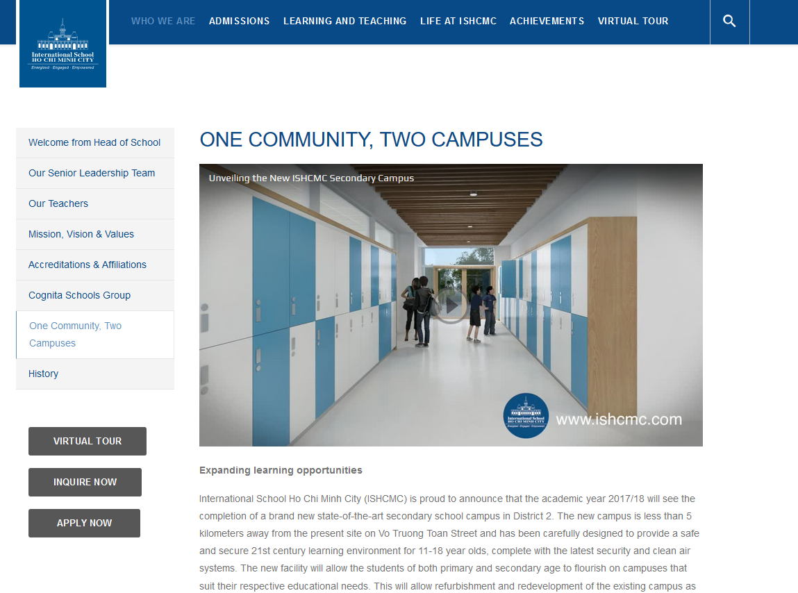 One community, two campuses: landing page