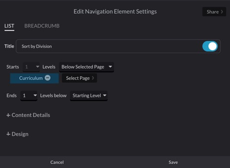 Maret School Nav Element Settings in Posts