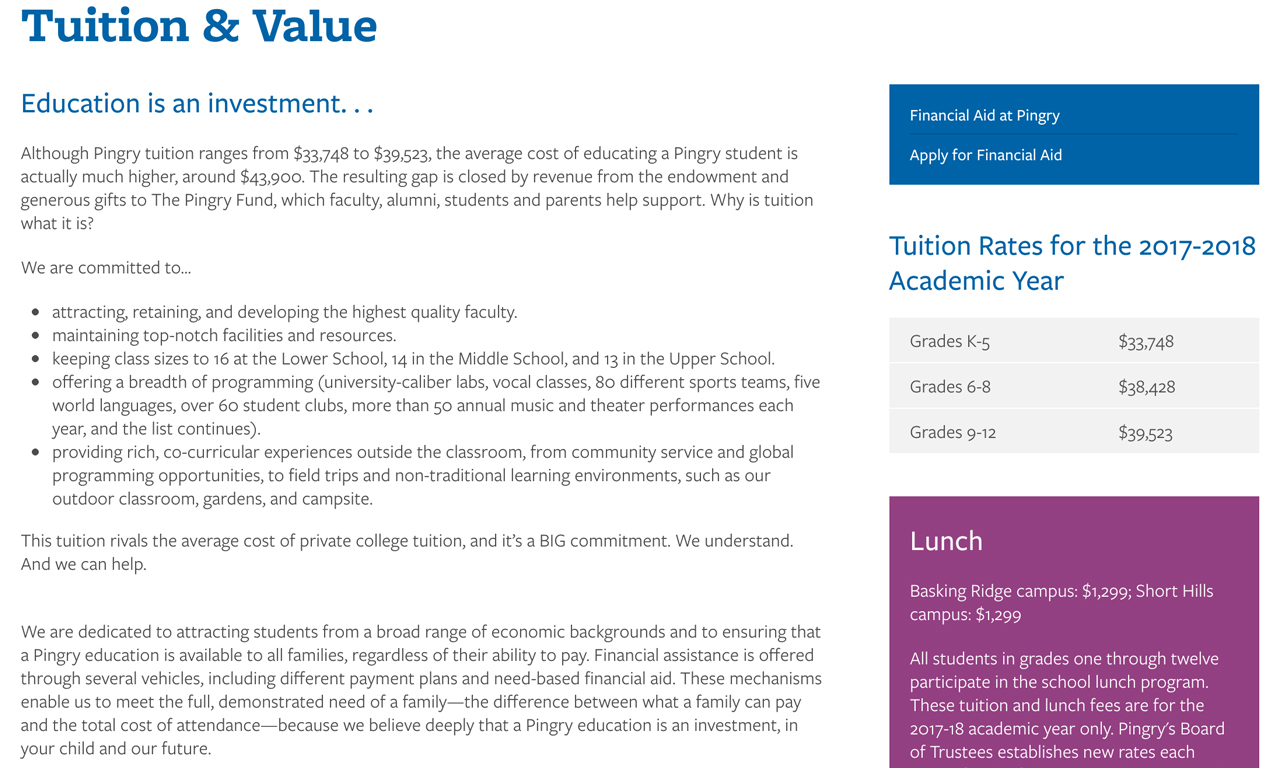 Tuition and Value - Pingry