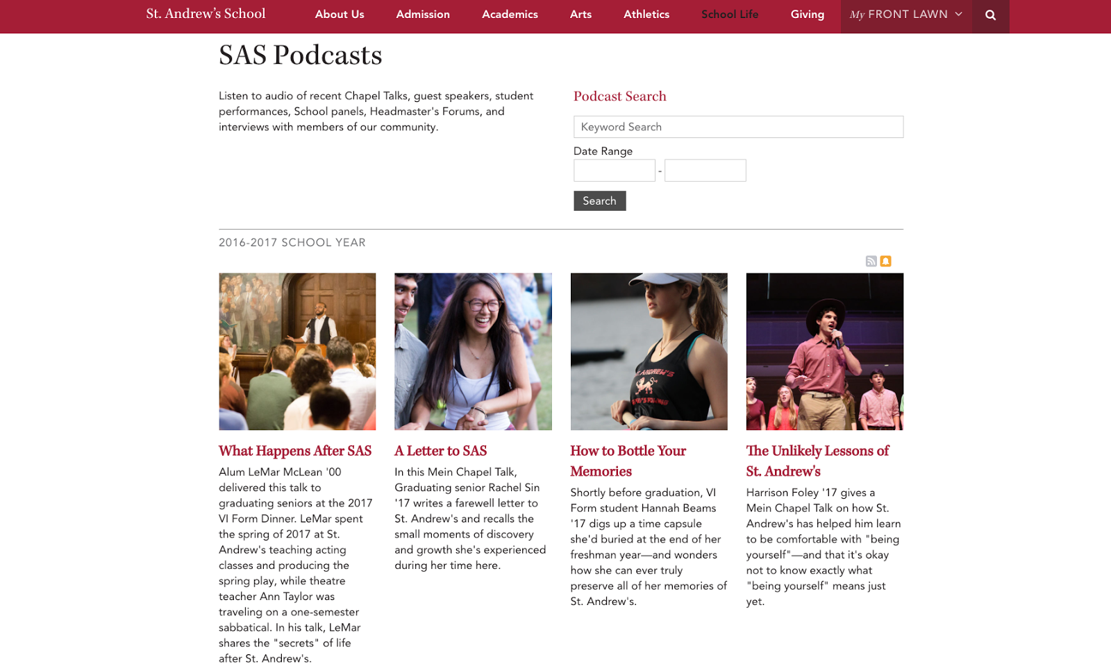 St. Andrew's School Podcast Page