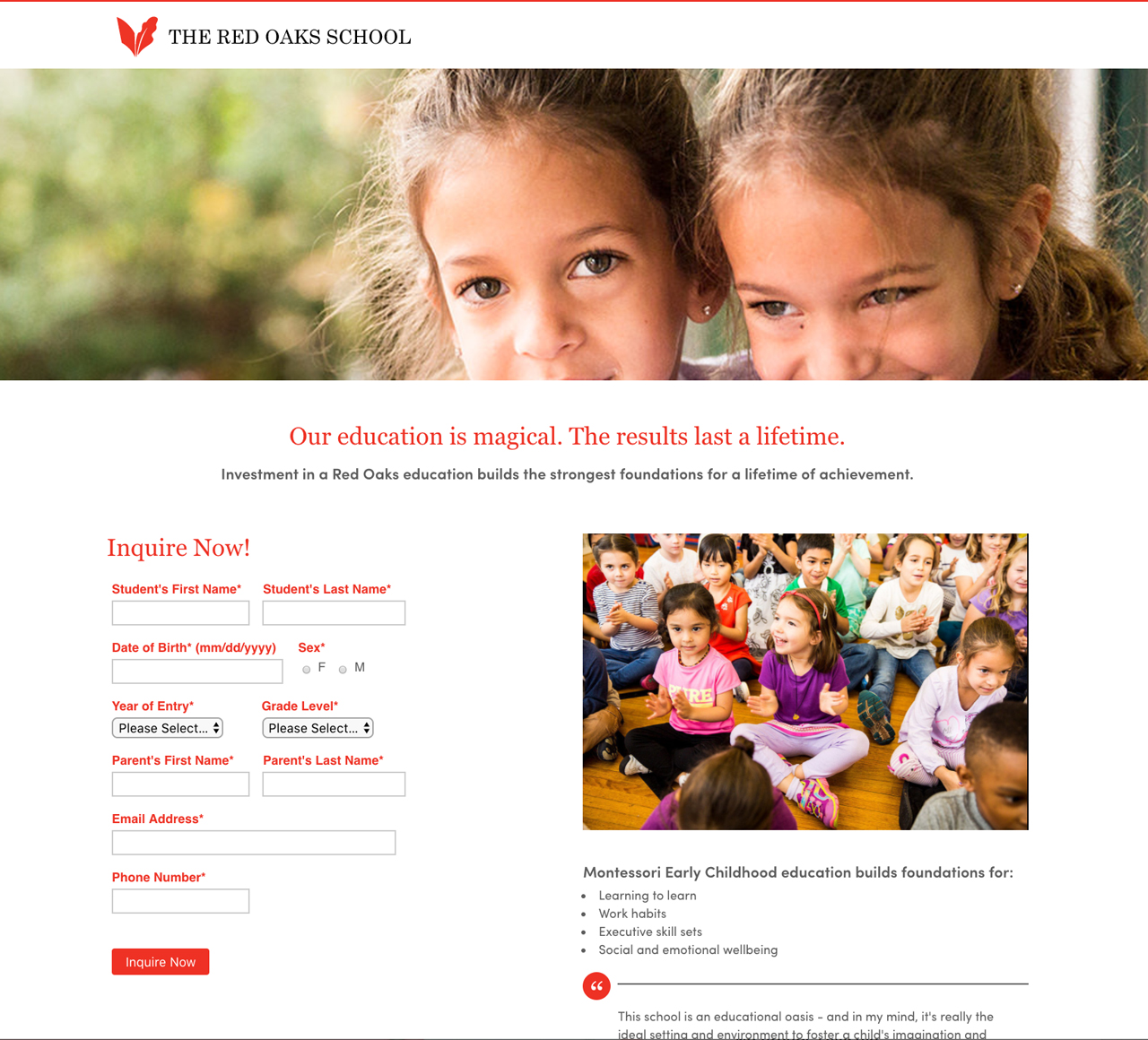 Red Oaks School Landing Page