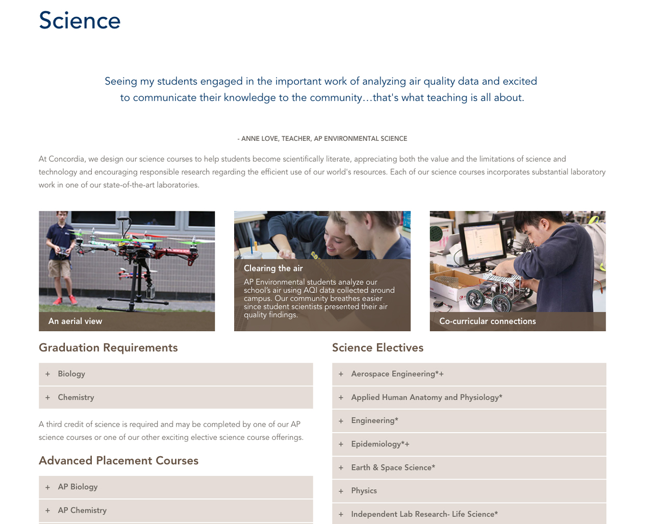 Science Landing Page