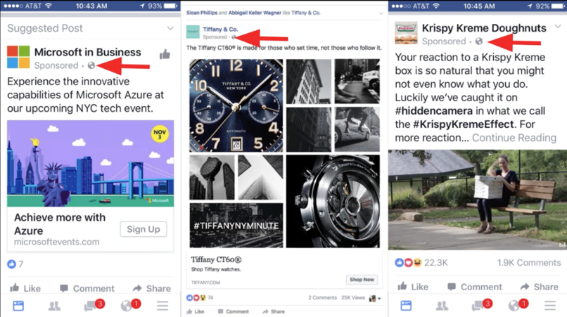 Facebook Sponsored Post Examples