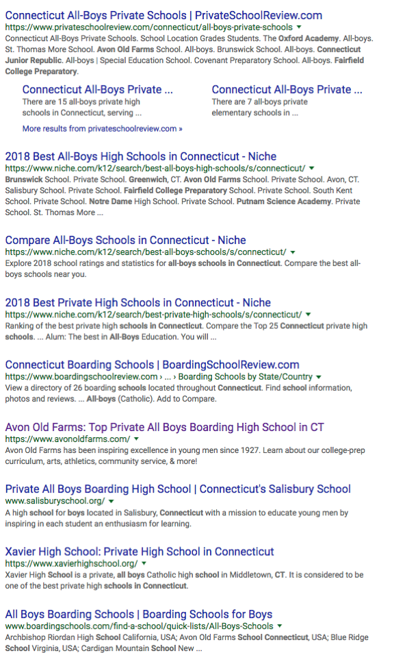 All Boys Schools in CT Google Search Cont'd