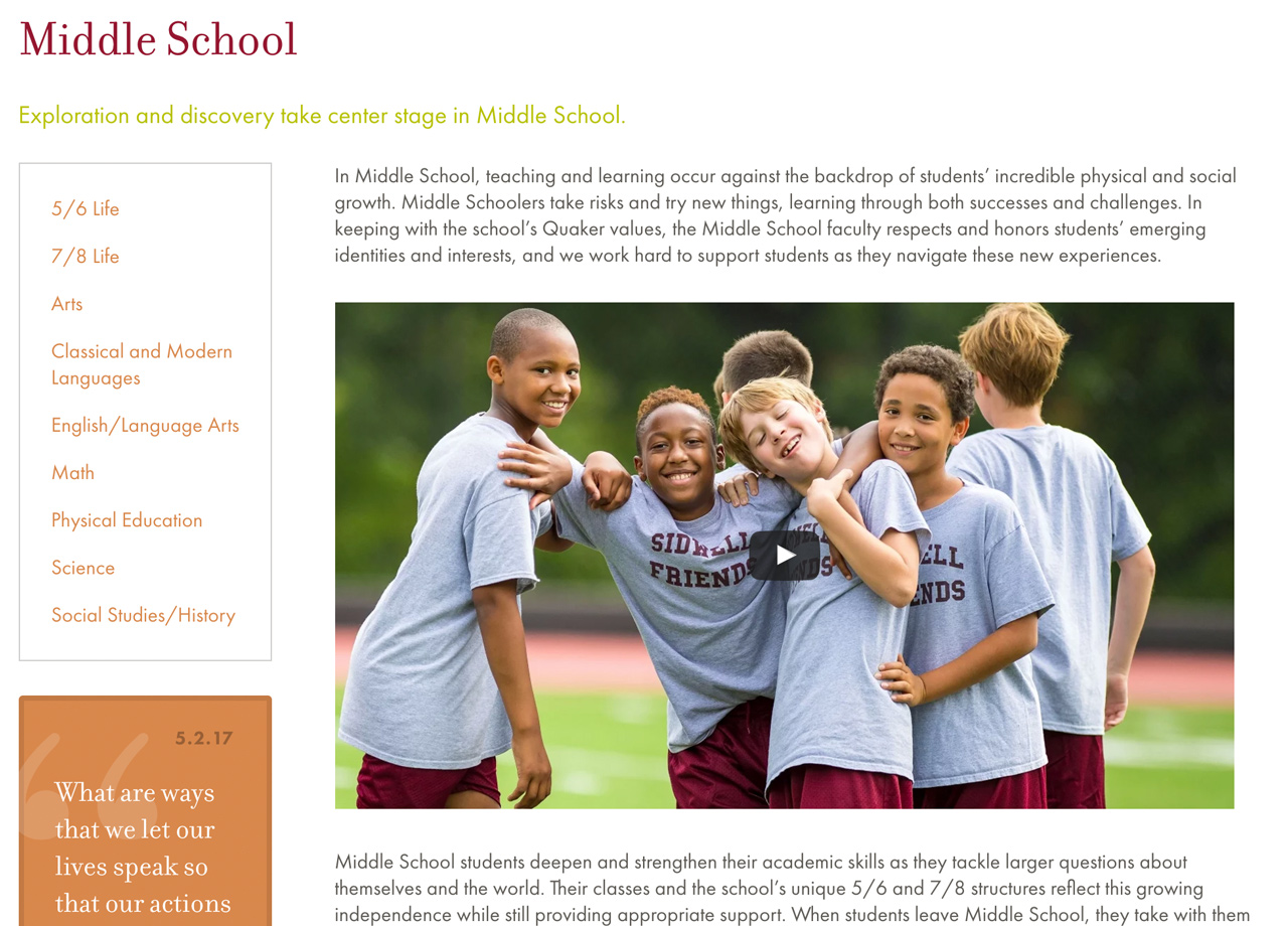 Sidwell Middle School Landing Page