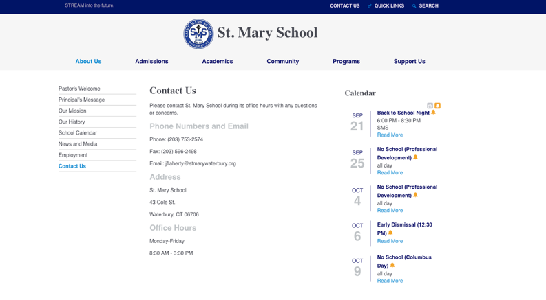 St. Mary School Contact Us Page