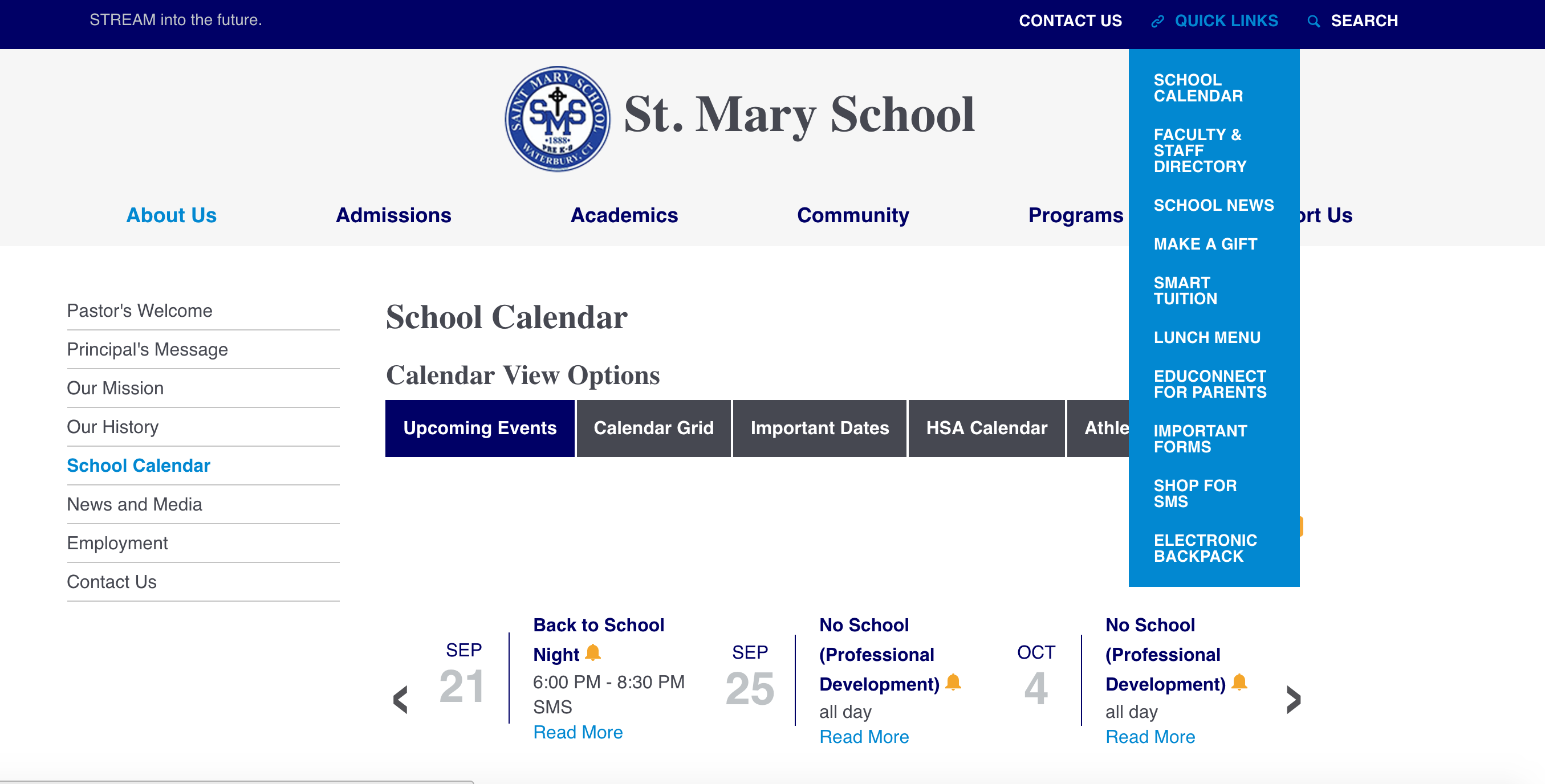 St. Mary School Calendar