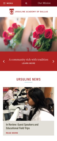 Ursuline Academy of Dallas Website on Mobile