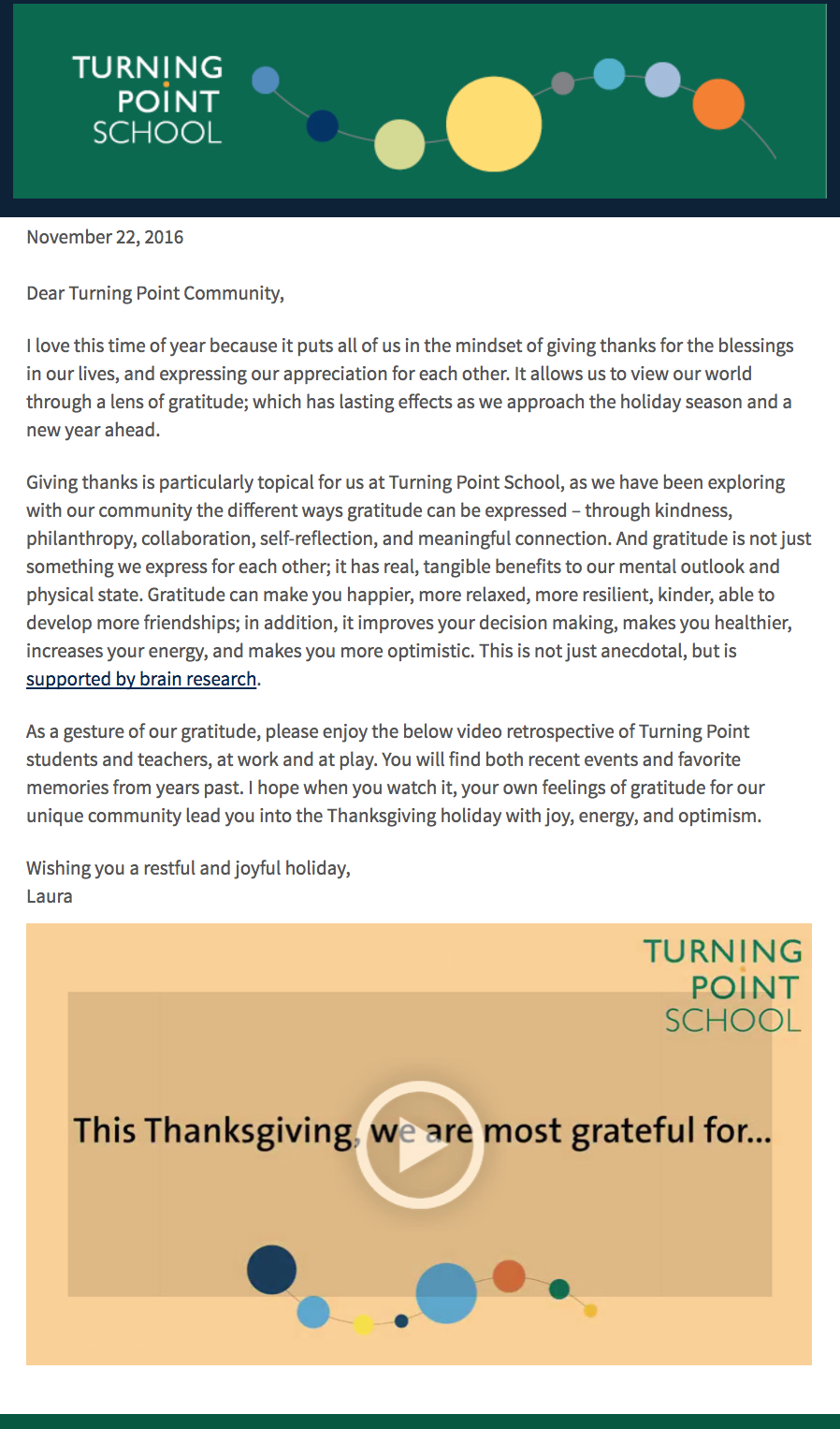 turning point school video email