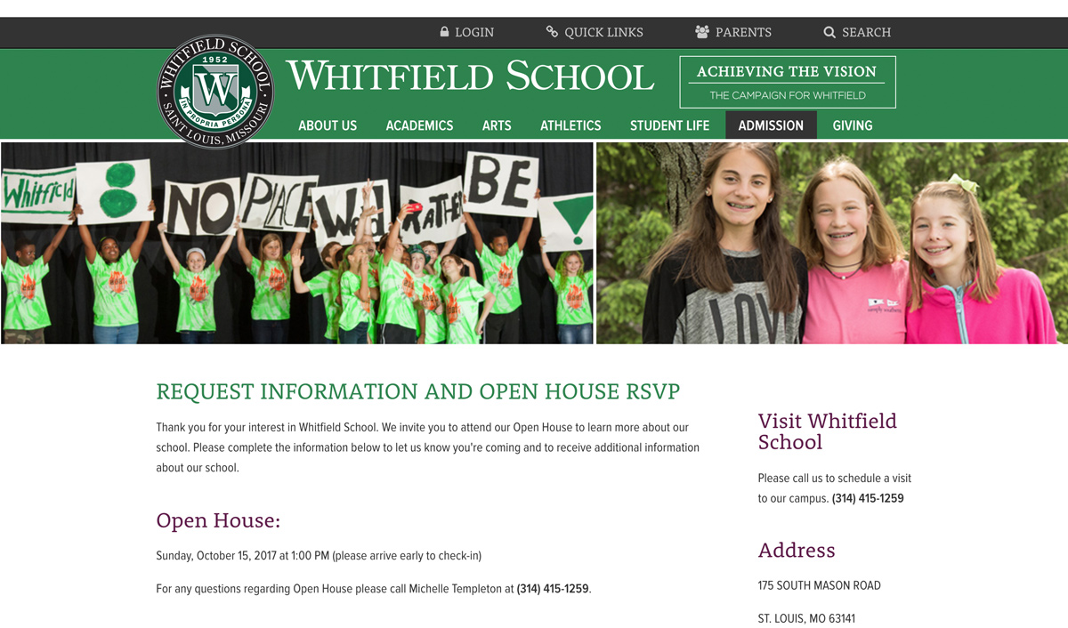 whitfield landing page
