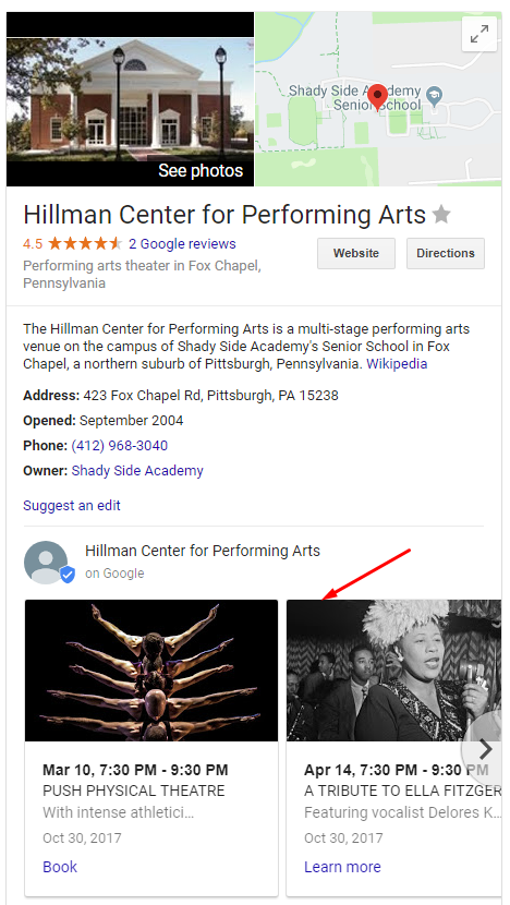 Hillman Center for Performing Arts Google Search