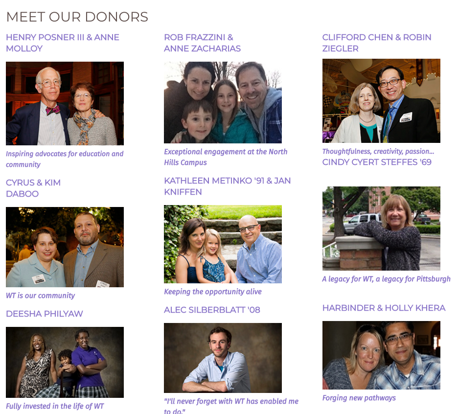 meet the donors section