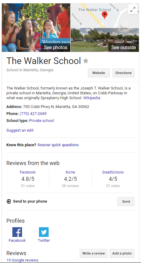 The Walker School Google Search