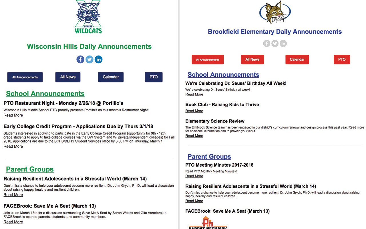 daily announcements email example
