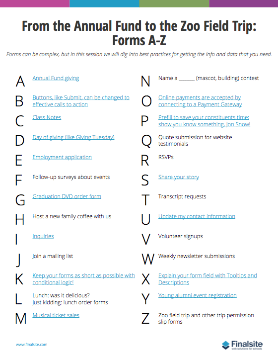 forms cheat sheet