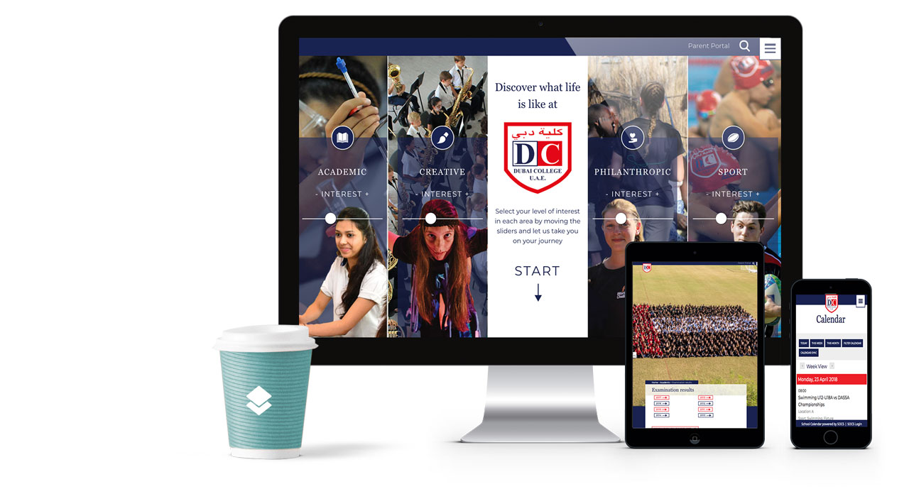 screenshot of dubai college's new homepage