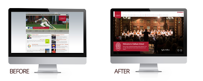 image showing the before and after homepages of the oakham school