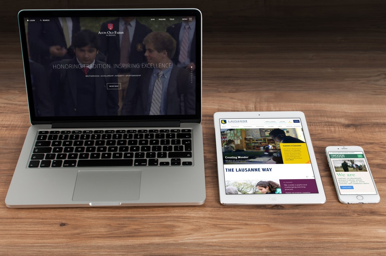 website in three different devices