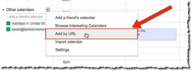 Add By URL menu item on Google Calendar