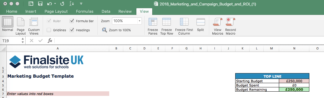 School Marketing Budget Template Post